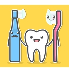 Tooth and toothbrushes vector image vector image