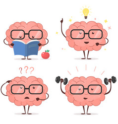 brain cartoon set vector image