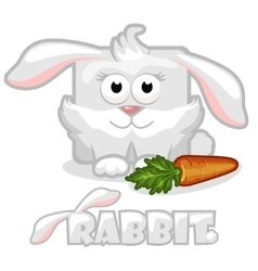 cute cartoon square rabbit rabbit with carrot vector image vector image