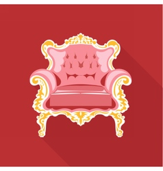 Digital golden and pink vintage chair vector image
