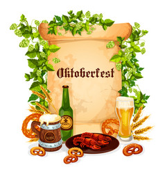 oktoberfest poster of beer snacks vector image vector image