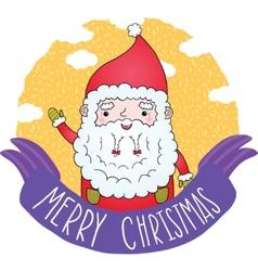 PrintCute Merry Christmas ribbon with Santa Claus vector image vector image