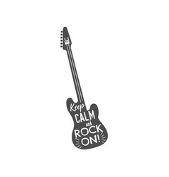 rock guitar emblem with text inside keep calm and vector image vector image