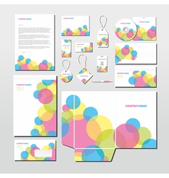 stationery set with colorful circles vector image vector image