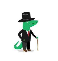 business crocodile in suit cartoon vector image