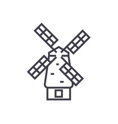 windmill line icon sign on vector image