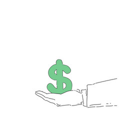 Business man hand hold dollar sign money growth vector