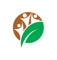 circle human leaf eco logo vector image