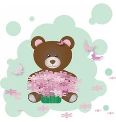 Cute Teddy Bear holding flowers vector image