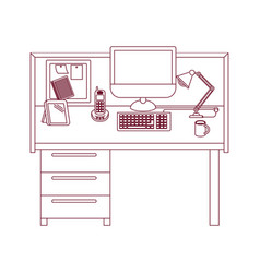 Dark red line contour of workplace office interior vector