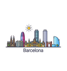 flat line barcelona banner vector image vector image