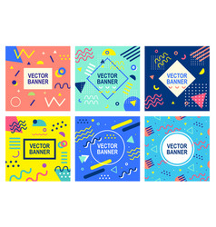 memphis style banner templates collection vector image vector image