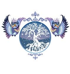 winter owls with tree vector image vector image