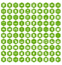 100 document icons hexagon green vector