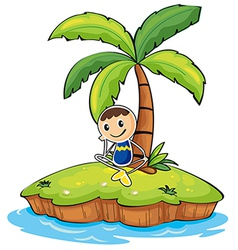 A boy sitting under the coconut tree vector