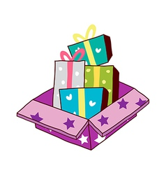 A gift boxes are placed vector image