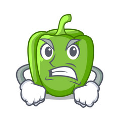 Angry cartoon fresh green pepper in the kitchen vector