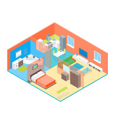 Apartment family rooms interior with furniture vector