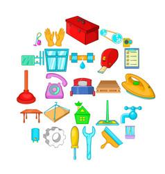 Apartment renovation icons set cartoon style vector