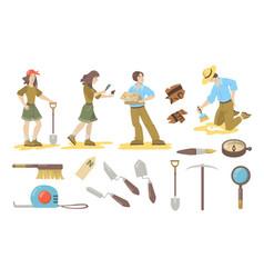 Archeological tools set vector