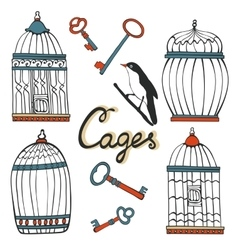 Beautiful collection of hand drawn cages vector