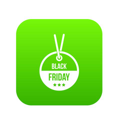 black friday sale tag icon digital green vector image