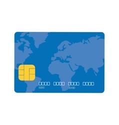 Blue credit card global bank vector