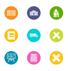 Book day icons set flat style vector