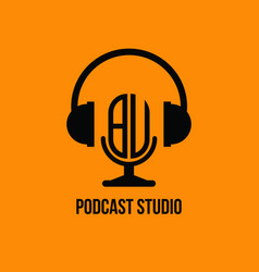 Bu monogram headphone and microphone style vector