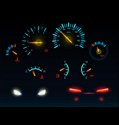 Car glowing indicators and headlights set vector