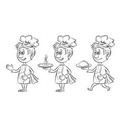 cartoon cooks contours vector image