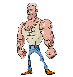 Cartoon image of tough man vector