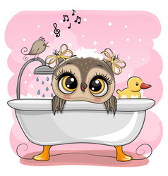 Cartoon owl in bathroom with a bird vector