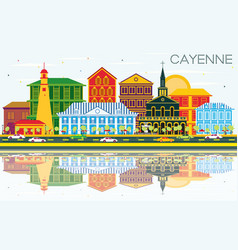 Cayenne city skyline with color buildings blue vector