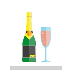 Champagne glass and bottle vector
