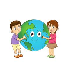 children love earth hugging planet vector image