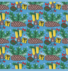 christmas seamless pattern new year hand vector image