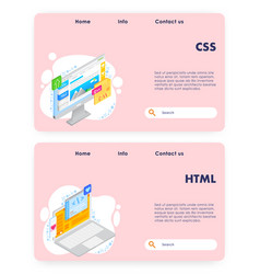 coding website landing page template set vector image