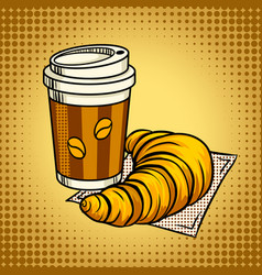 Coffee and croissant pop art vector