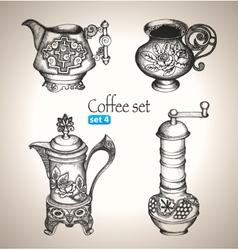 Coffee and tea set vector