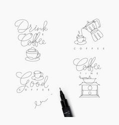 coffee pen line symbols vector image