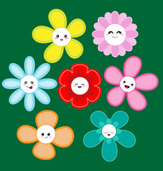 collection of cute flowers vector image