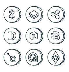 cryptocurrency black outline icon set isolated vector image