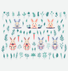 Cute flat rabbits and pastel bunnies collection vector
