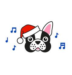 cute french bulldog in santa hat sings carols vector image