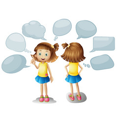 cute girl with blank speech bubbles vector image