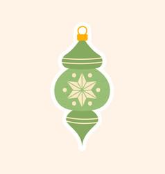decorative green christmas tree ornament vector image