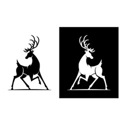 Deer silhouette black and white icon vector