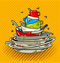 Dirty dishes comic book style vector
