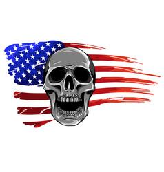 Draw skull and flag usa vector